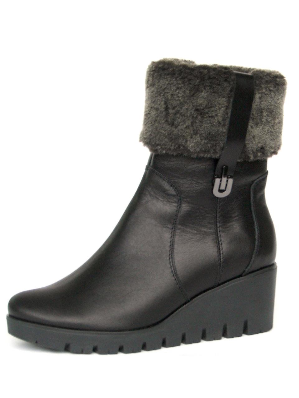 0eb6b8ed Зимние кожаные ботинки на танкетке с опушкой - купить по лучшей цене ...