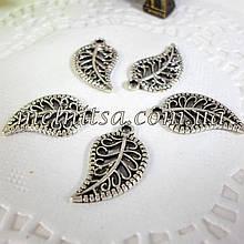 """Декоративна підвіска """"Листочок ажурний"""", срібло, 10х18 мм 1 шт."""