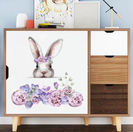 """Вінілові наклейки на стіни, шафи, вікна в дитячу """"Зайчик в кольорах"""" 45см*45см (лист 60*30см), фото 2"""