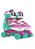 Роликовые коньки (квады) SportVida SV-LG0040 Size 35-38 Pink/Green, фото 1