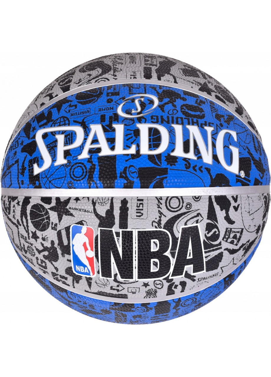 М'яч баскетбольний Spalding NBA Graffiti Outdoor Grey/Blue Size 7