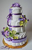 Торт из памперсов Фиалка 45 штук