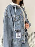 Куртка джинсовая женская с трикотажным капюшоном (белый, розовый, желтый капюшон), фото 6