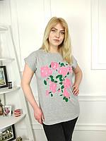 """Футболка жіноча батальна з трояндами р-ри 2xl-4xl (3ол)""""FIESTA"""" купити недорого від прямого постачальника"""