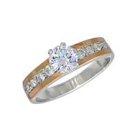 """Женское серебряное кольцо с золотыми пластинами """"Нона"""""""