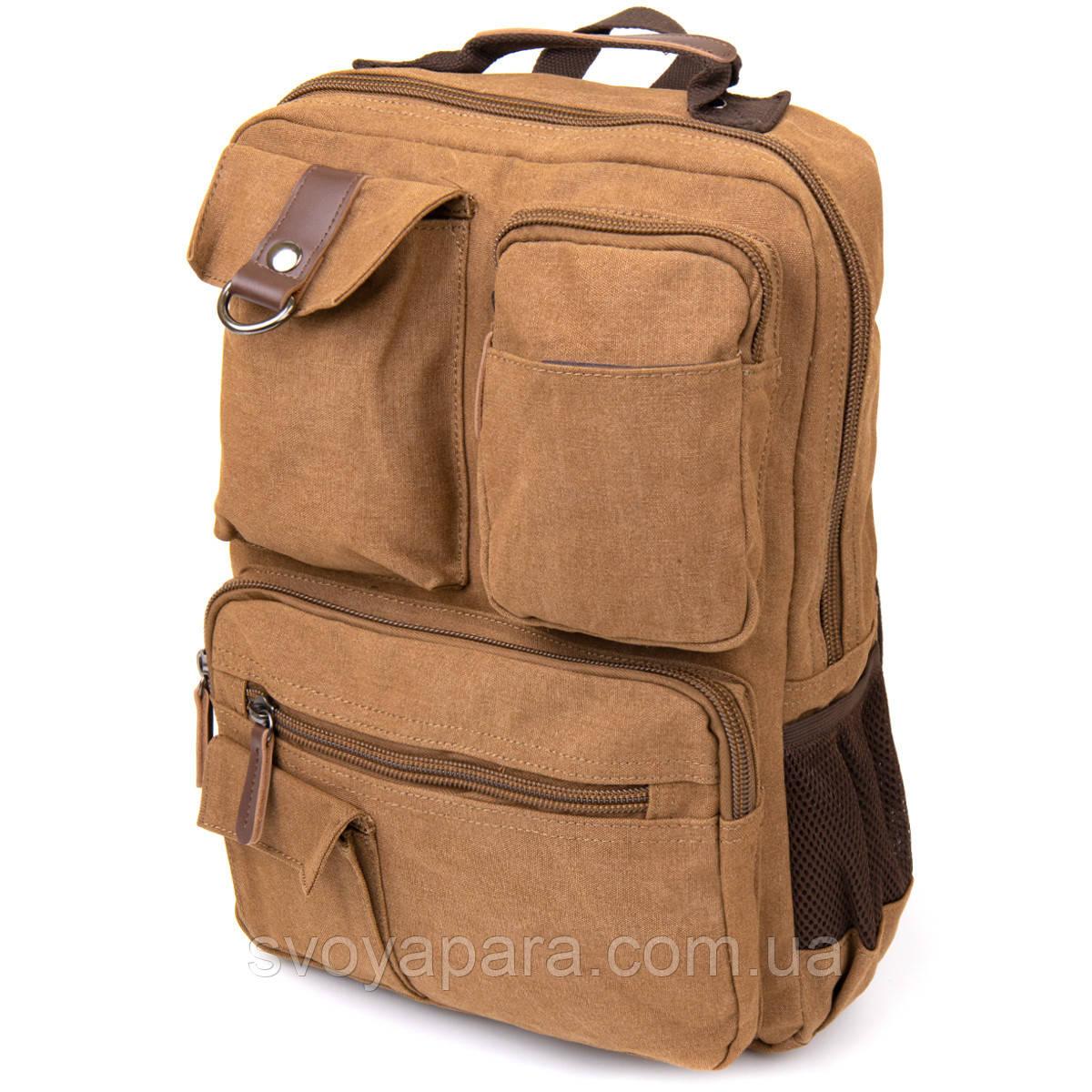 Рюкзак текстильний дорожній унісекс Vintage 20619 Коричневий