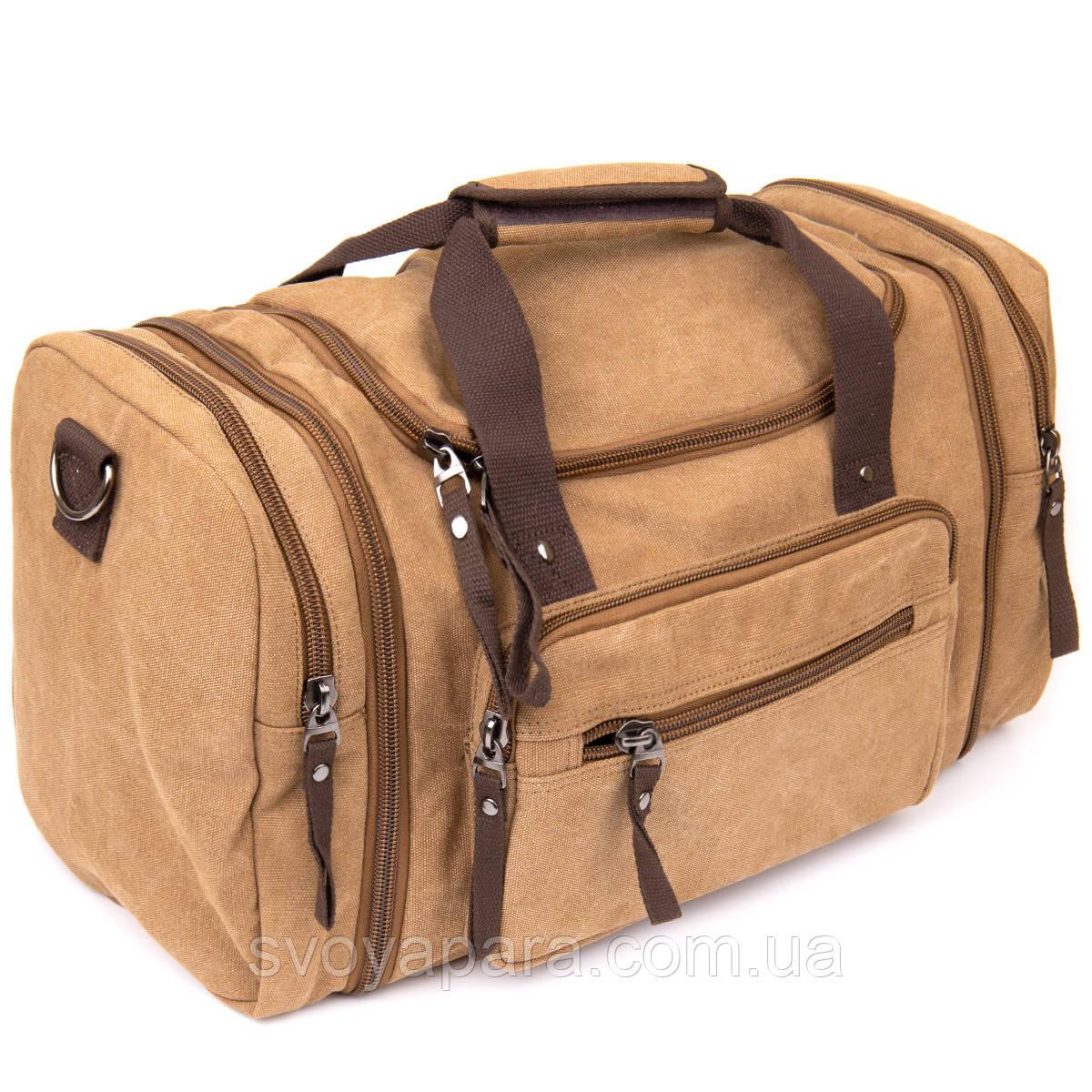 Дорожная сумка текстильная Vintage 20666 Коричневая