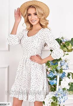 Белое платье мини в горошек с открытой спиной