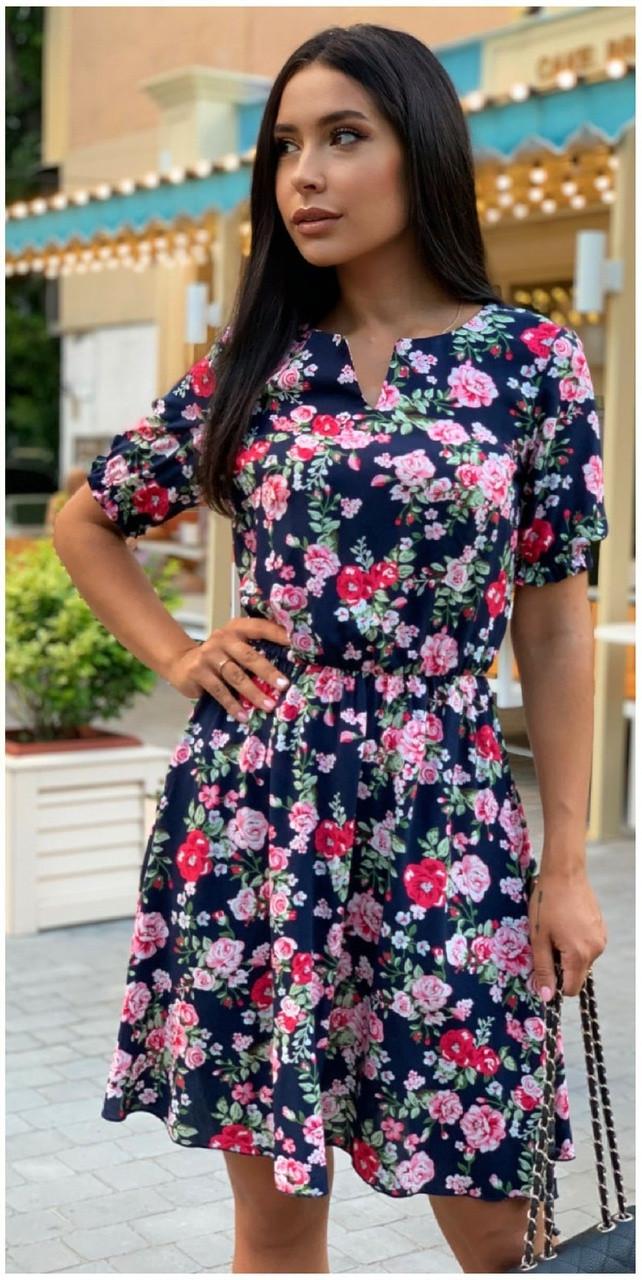 Платье летнее NOBILITAS 42 - 52 синий лиловый штапель (арт. 21028)