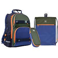 Набор рюкзак + пенал + сумка для обуви WK 702 сине-зеленый