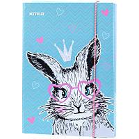 Папка для зошитів В5 на гумці картон, Kite, Cute Bunny
