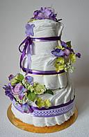 """Подарок Новорожденной девочке. Торт из памперсов """"Фиалочка"""" на 60 штук"""
