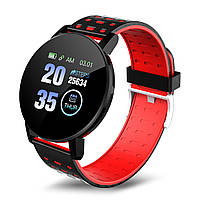 Спортивные умные часы 119 plus с измерением кровяного давления черно-красные