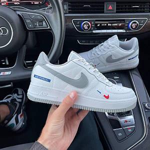 Мужские кроссовки Nike Air Force 1  белые с серым