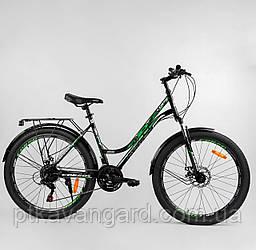Велосипед женский спортивный 26 дюймов Зеленый Corso URBAN, рама метал, 21 скорость, багажник, крылья
