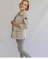 Женская куртка Sunny хлопковый светло-серый в стиле сафари