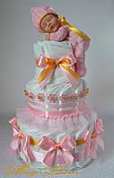 """Подарок Новорожденной девочке. Торт из памперсов """"Эвкалипт"""" на 80 штук"""