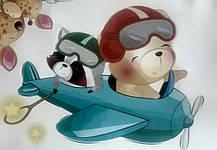 """Наклейка на стіну """"звірі в космосі!"""" 110см*78см наклейки в дитячу (лист 60*90см) в дитячий садок, фото 2"""