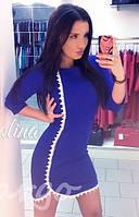 Короткое платье с кружевным ободком