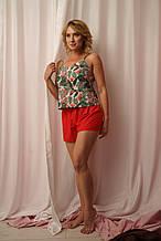 Женская пижама для дома и сна с майкой в экзотический принт и красными шортами на подарок подруге/девушке/жене