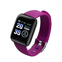 Смарт-часы 116 PLUS для Android с пульсометром фиолетовый ремешок
