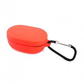 Силиконовый чехол с карабином для наушников Xiaomi AirDots Red Красный