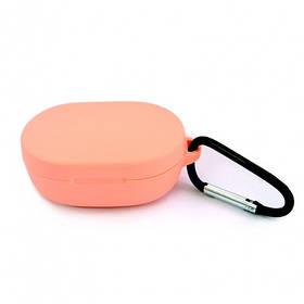 Силиконовый чехол с карабином для наушников Xiaomi AirDots Orange Персиковый