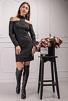 Коктейльное платье Ваниль с бесподобным кружевом и оголенными плечами 44-48 размер черный