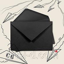 Крафт конверт С6 чорний, ЕКО 80г\м. клапан трикутний, 114*162мм