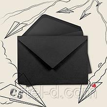 Чорний крафт конверт С6, ЕКО 80г\м. клапан трикутний, 114*162 мм