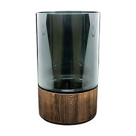 Ваза стекло с деревянной подставкой Смарт-вуд, 14*23 см подставка для цветов для кафе бара ресторана