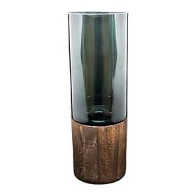 Ваза скло з дерев'яною підставкою Смарт-вуд, 10*29 см підставка для квітів для кафе бару ресторану