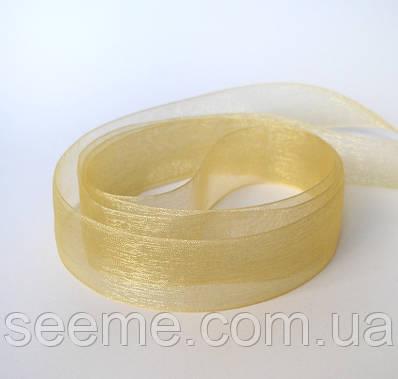 Лента органза 25 мм, цвет золотистый, отрез 3,8 м.