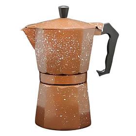 Кофеварка гейзерная коричневая Alu-сильвер на 6 персон в кафе бар ресторан