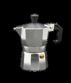 Кофеварка гейзерная нержавеющая сталь Alu-сильвер на 2 персоны в кафе бар ресторан