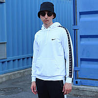 Белое мужское спортивное худи Adidas с лампасами