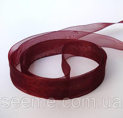 Лента органза 25 мм, цвет бордо, отрез 3,5 м.