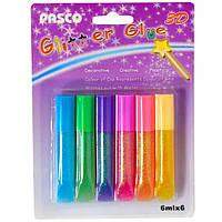 Краска-клей 6цветов*6мл Pasco F-003-1 неоновый 202526