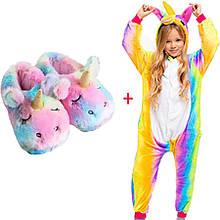 Комплект: Пижама Кигуруми единорог радужный + тапочки кигуруми единорог радужный