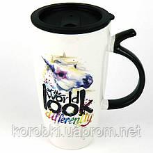 Керамическая чашка с крышкой