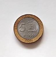 5 песо Домініканська республіка 2002 р., фото 1