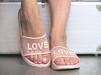 Женские Шлепанцы Пудра резиновые Love, фото 1