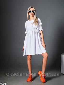 Платье мини белое свободного кроя с короткими рукавами
