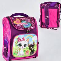 Рюкзак для девочки в школу, Розовый с котами, (1 отделение, 3 кармана, спинка ортопедическая), N 00138