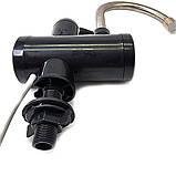 Проточний водонагрівач миттєвий кран бойлер нижнє підключення чорний, фото 5