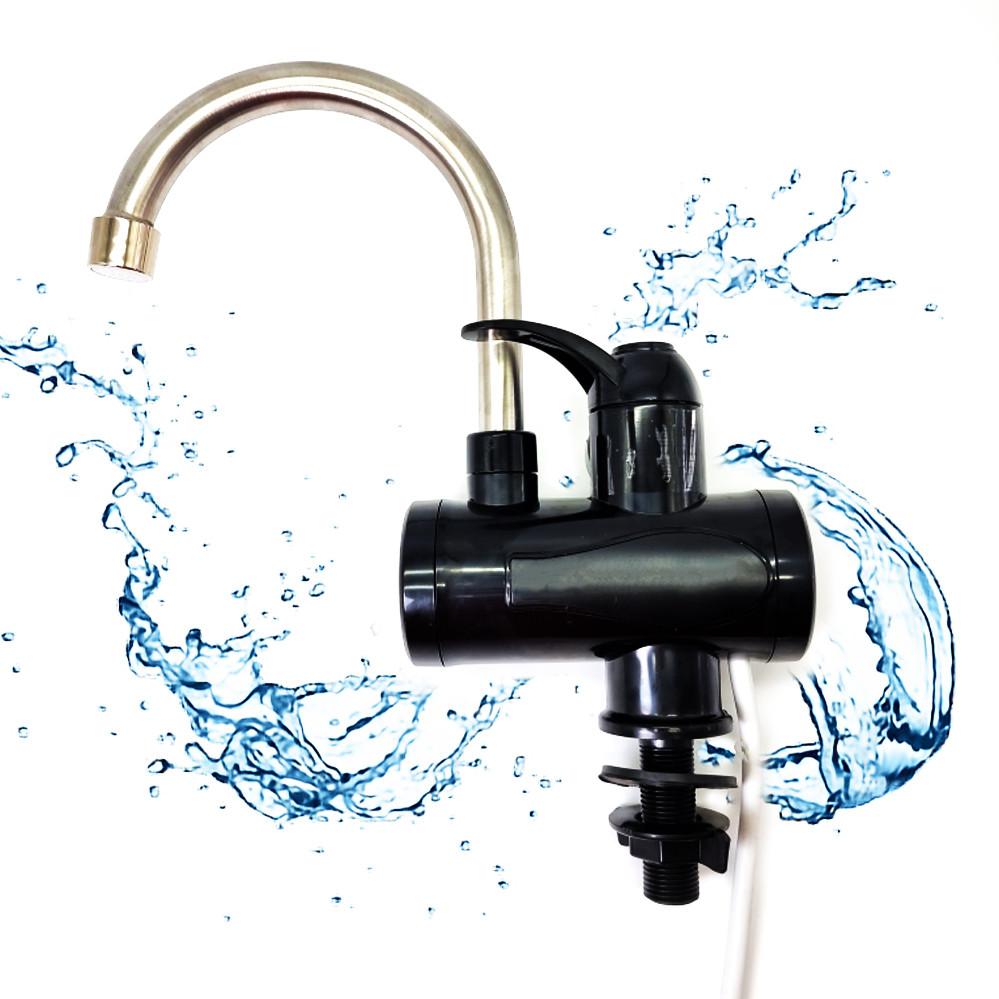 Проточний водонагрівач миттєвий кран бойлер нижнє підключення чорний