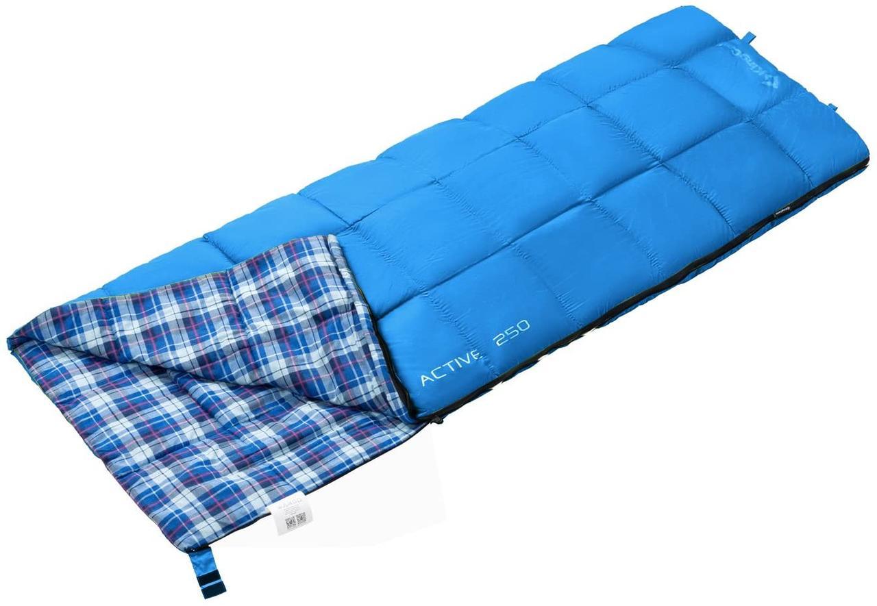 Туристический спальник мешок-одеяло 190 х 75 см KingCamp Active Температура от +12 до -5 Голубой (KS3103)