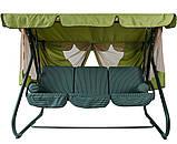 Гойдалки-диван садові для дачі металеві з навісом Ranger Emerald Зелений (7720), фото 2