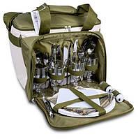 Набір посуду для пікніка на 4 персони з термосумкою Ranger Lawn Оливковий (9909)