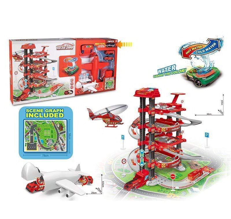 Гараж 660 А-301 5 этажей, 2 машинки, 1 меняет цвет, самолет, автоматический подъемник, свет, звук